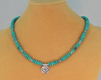 Turquoise necklace, heart pendant, hypoallergenic