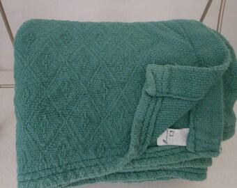 FIELDCREST Woven Cotton Blanket Cover Bedspread Spruce Green X Long