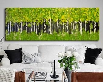 "72"" Huge Green Painting, Original Abstract, XXL  Abstract Forest Large Forest Painting, Birch forest,Green Trees, Green Custom trees"