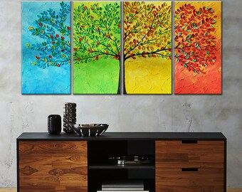 landscape painting, Seasons painting, tree of life, Original painting, Wedding gift, gift for couple, modern wall art, original gift
