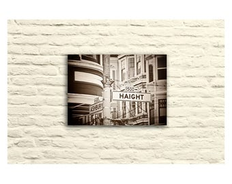 San Francisco Photography. Black and White. Haight Ashbury Street Signs. Canvas Wall Art. SF Home Decor. Urban. City.