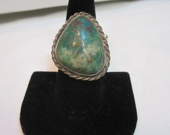 Vintage Old Pawn Large Turquoise and Sterling Ring