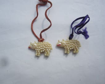 Pair Vintage Celluloid Sheep Charms