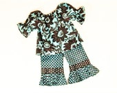 Girls RUFFLE PANTS OUTFIT Size 3mo to 6 Spring Summer Clothes Turquoise and Brown 3mo  6mo 9mo 12mo 18mo 24mo 2T 3T 4T 5 6
