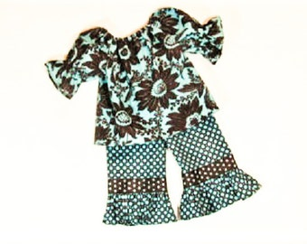 Girls RUFFLE PANTS OUTFIT Size 3mo to 6 Fall school Summer Clothes Turquoise and Brown 3mo  6mo 9mo 12mo 18mo 24mo 2T 3T 4T 5 6