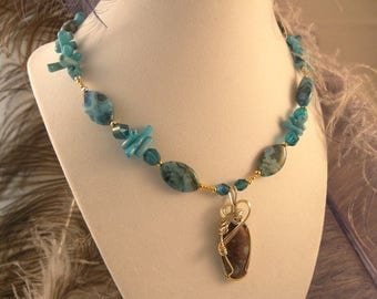 Blue Crazy Lace Agate Necklace and Earrings