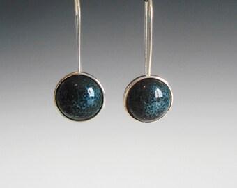 Sterling silver enamel earrings silver enamel jewelry vitreous enamel fired on copper drop earrings