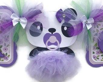 Panda baby shower, its a girl banner, tutu baby shower, tutu banner, purple and green, baby shower decor, panda decorations, tutu decor