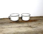Vintage Enamelware Mugs White and Black Enamel Ware Coffee Cups Country Farmhouse Kitchen Mid Century 1950s Kitchen Decor
