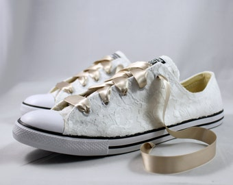 Wedding Converse - Bridal Converses --Lace Converse -- Wedding Tennis shoes