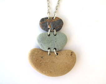 Stone Necklace Beach Stone Rock Jewelry Mediterranean Natural Stone Jewelry Gift for Her River Stone Necklace Green Saffron Silver IDOL