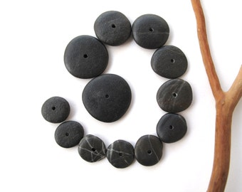 Rock Donut Beads Drilled Stone Spacers Beach Stone Beads Mediterranean Natural Stone Beads Diy Jewelry Pairs SMALL BLACK WHEELS 13-23 mm