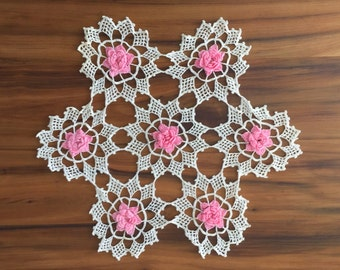 White Crochet Doily with Pink Raised Flowers