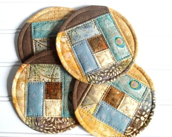 Quilted Coaster Set, Fabric Mug Rugs, Brown Blue Yellow
