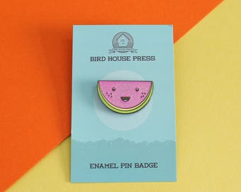 Cute Watermelon Hard Enamel Pin Badge - cute melon pin - lapel pin