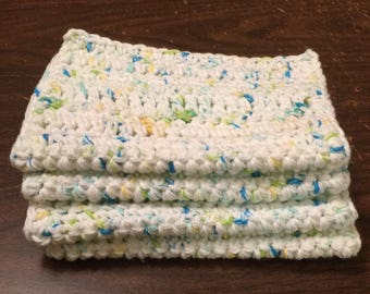 4 Large dish cloths/ dish rags/ wash cloths made with 100% cotton yarn | Happy Go Lucky