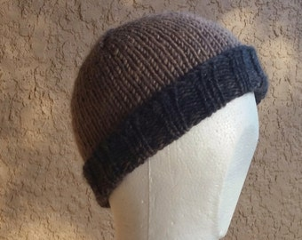 Beanie, skull cap, stocking cap, watchcap, longshoremans hat, brown tan charcoal ombre. Hand knit in variegated charcoals and browns