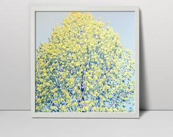 Spring tree landscape serigraph - screen print - tree print - tree landscape - young leaves - spring landscape - tree art - nature art tree