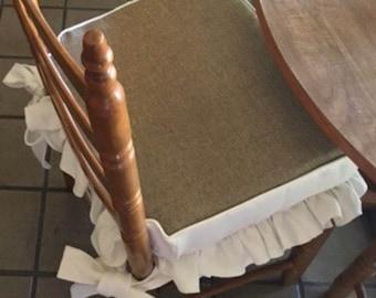 Custom Ruffled Linen and Burlap Seat Cushion