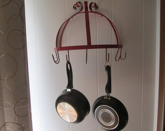 Pot Rack Red Metal Hanging Pot or Plant Holder Wall Mount