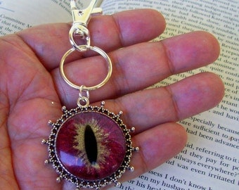 Dragon Eye Key Chain (KC600), Red and Gold Sparkle, Hand Painted Glass Eye, Silver Hardware