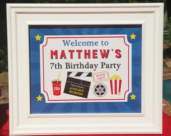 Personalized Movie Party Door Sign, Yard Sign, Chair Sign Printable or Printed ANY Wording, Hair - Movie Party Collection