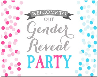 Gender Reveal Welcome Sign Printable - Instant Download - Gender Reveal Confetti Collection