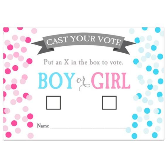 50% OFF SALE - Gender Reveal Voting Cards Printable ...