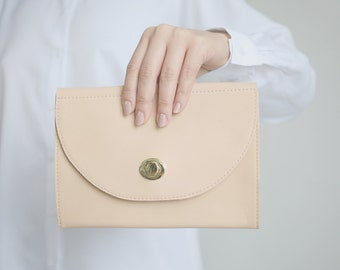 Buckle Clutch Tan Leather, bridal clutch, bridal bag, nude leather clutch, evening bag, leather purse, crossbody bag