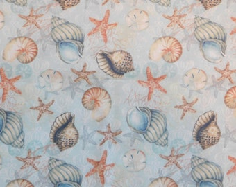 Susan Winget Fabric, Sea Shell Fabric, By The Yard, Boho Coastal Shells Collection, Starfish, Quilting Sewing Fabric, Beach Fabric