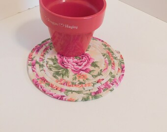 Coiled Trivet , Mug Rug, Candle Mat, Rose Flower Decor, Home Decor, Cottage Chic Decor, Spring Decor, Table Setting, Plant Mat, Coaster