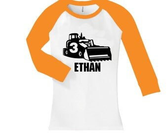 Personalized Bulldozer birthday shirt -  cropped/long sleeve fitted raglan shirt - any age and name - pick your colors!