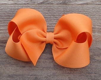 Boutique Hair Bow~Pumpkin Pie Orange Hair Bow~Fall/Autumn Hair Bow~Basic Boutique Bow~Simple Boutique Bow~Large Boutique Bow~Boutique Bows