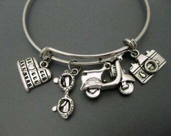 Rome Bangle / Italy Bracelet / Travel Bracelet / Travel Bangle / Wanderlust Bracelet / Scooter Bracelet /  Camera Adjustable Charm Bracelet