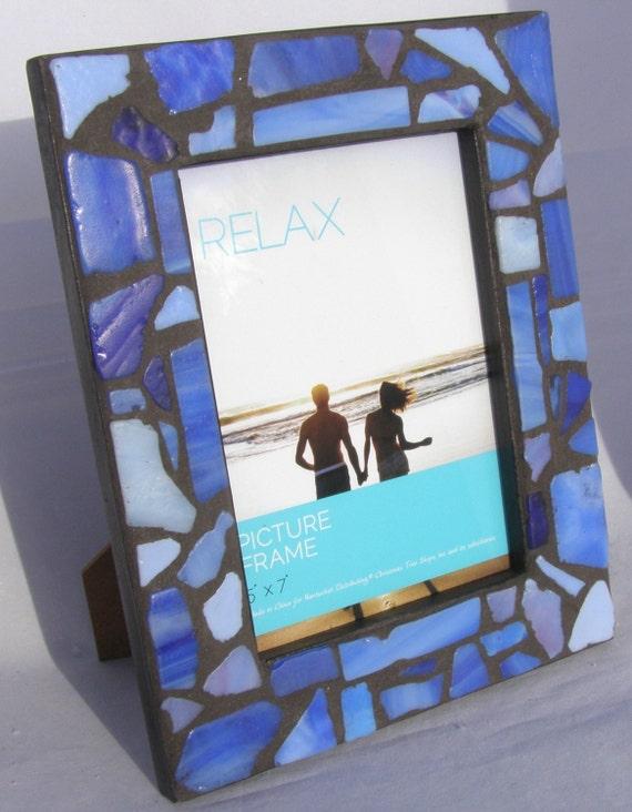 5 x 7 blue mosaic photo frame glass picture frame coastal. Black Bedroom Furniture Sets. Home Design Ideas