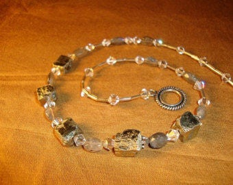 NE000921 Silver Necklace with Pyrite and Labradorite Gemstones from the Kendra Line