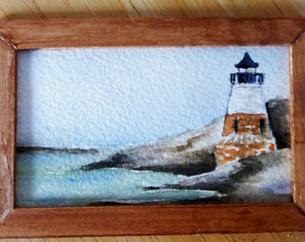 Original Miniature Painting in Watercolor - Castle Hill Lighthouse - RI