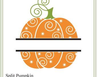 Pumpkin SVG, Split Halloween Pumpkin svg, Autumn illustration, svg cutting, printing, cards, DIY Halloween Whimsical pumpkin svg file