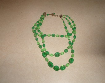 vintage necklace triple strand green lucite western germany
