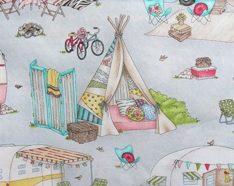 Retro Campers, Glamping Camping, Tents Fabric, Campers Fabric, Vacation Fabric, Maywood Studio, By the Yard, Cotton Fabric, Gray Background