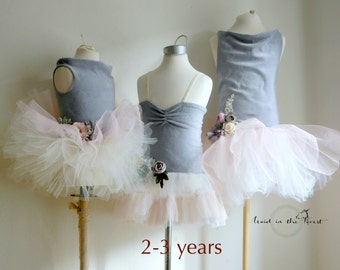 Girls size 2-3 years vintage dusty blue velvet flower girl dress. Rustic wedding tutu. Photo prop dress.