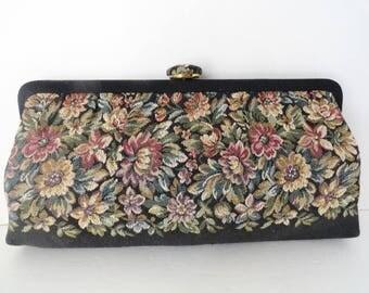 Vintage Handbag|Vintage Tapestry Clutch Bag|Mid Century Tapestry Evening Purse|Black Floral Vintage Clutch Bag|Vintage Medium Tapestry Bag