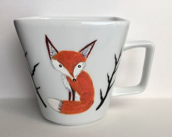 Red Fox Coffee Mug - fantastic mr fox - for fox sake - fox decor - cute mugs - cute fox - woodland decor - coffee gifts - fox gifts