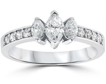 1ct 3-Stone Marquise Diamond Engagement Ring 14K White Gold