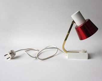 Small 1960s Midcentury Modern Table Light. White Red Gold.
