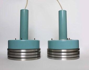 1970s light blue/ teal and aluminium pendant light/ industrial / minimalist ceiling lamps/ midcentury modern luminaires