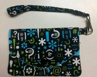Black, Aqua & Green Punctuation Fabric Wallet / Wristlet / Clutch