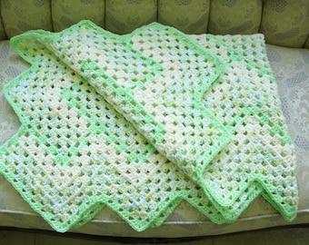 Small Crochet Afghan Pastel Greens / Yellow / White - Granny Crochet Blanket Lap or Baby Afghan - Modern Throw Blanket - Travel Size Blanket