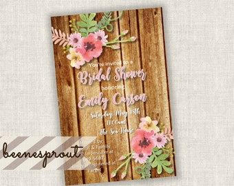 Watercolor Floral Bridal Wedding Shower Digital Invitation