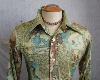 70s M Michael Low Nylon Knit Men's Big Collar Shirt Green Ladies Print